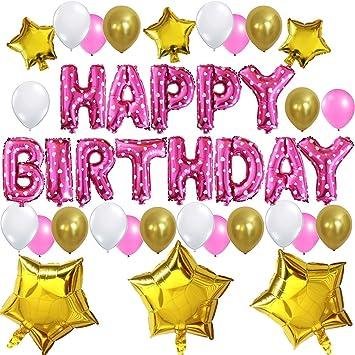 """KUNGYO Decoración de Fiesta de Cumpleaños Lindo Conjunto-Letras Tipo Balón Rosa """"Happy Birthday""""+21 Piezas Globo de Látex+6 Piezas Estrella-Brillante ..."""