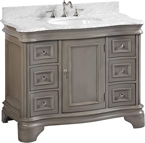 Katherine 42-inch Bathroom Vanity Carrara Weathered Gray Includes Weathered Gray Cabinet with Authentic Italian Carrara Marble Countertop and White Ceramic Sink