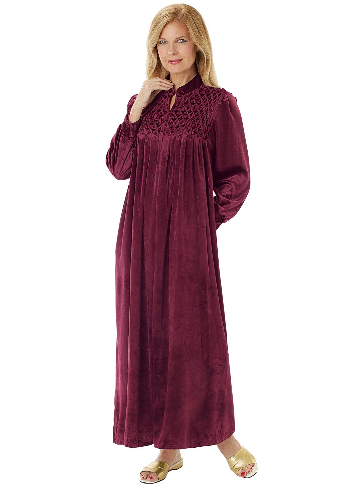 Carol Wright Gifts Long Zip-Front Robe, Burgundy, Size Extra Large (3X)