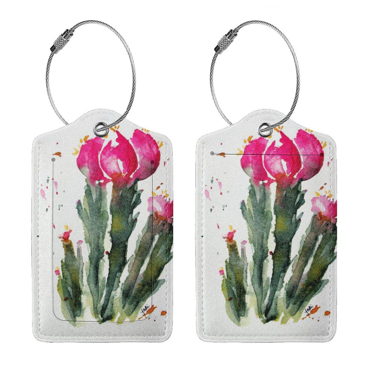 Desert Cactus Flower Luggage Tag Label Travel Bag Label With Privacy Cover Luggage Tag Leather Personalized Suitcase Tag Travel Accessories
