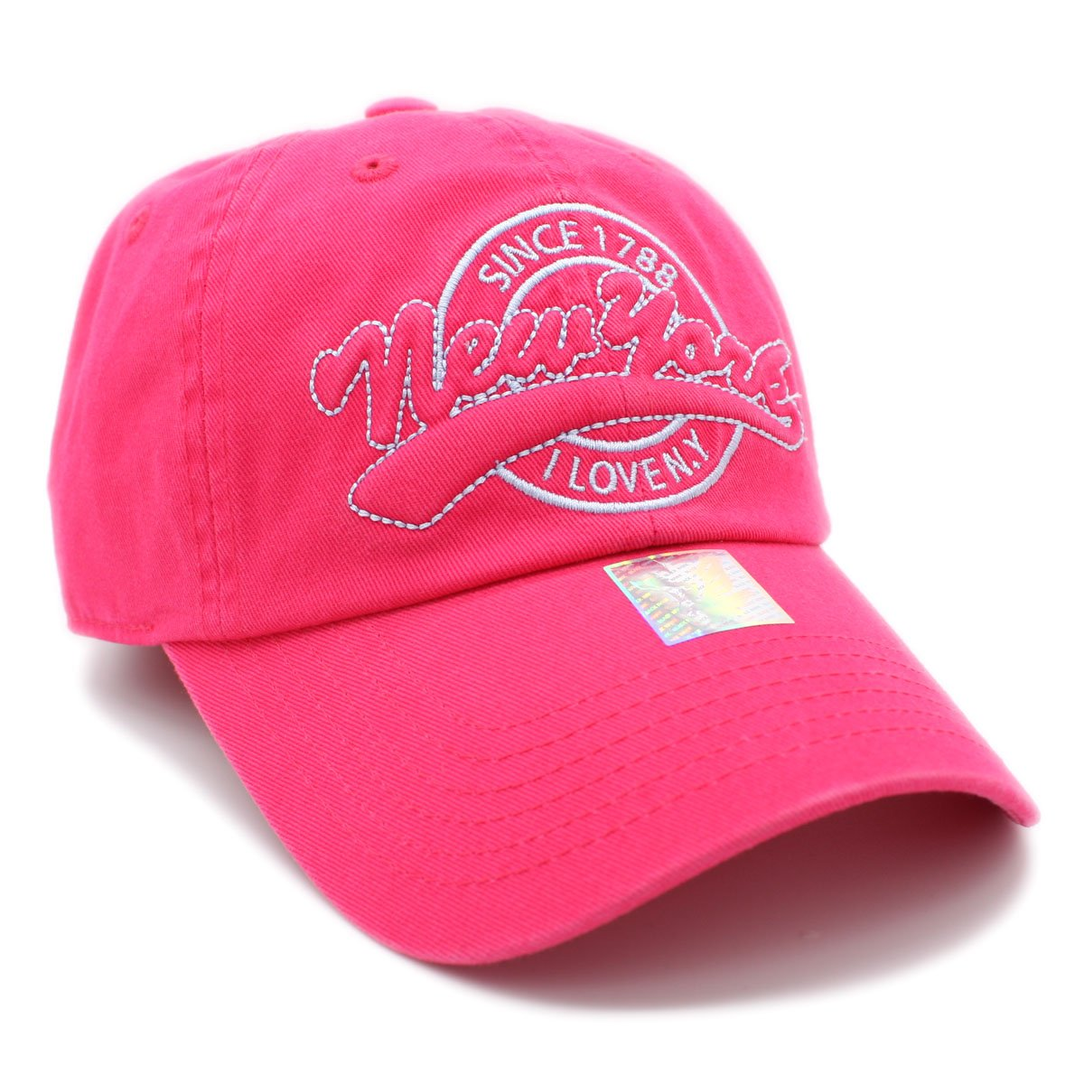 Embroidered NEW YORK I LOVE NY Cotton Low Profile Baseball Cap (CORAL)