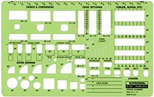 Rapidesign Office Planner Template, 1/4 Inch Scale, 1 Each (R707)