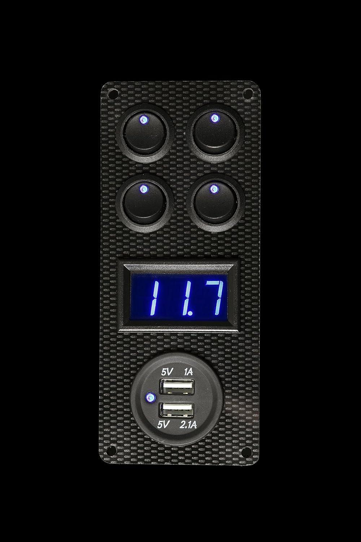 Lek Tek - Voltímetro/cargador USB para autocaravana, barco, remolque para caballo, 4interruptores basculantes LED azules de 12V, 16A, efecto de fibra de carbono