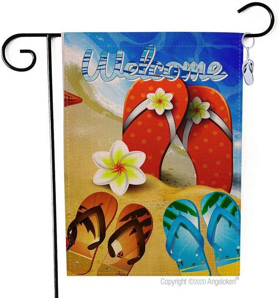 Angeloken Funny Garden Flag Vertical Double Sided Wlcome Flip Flops on Summer Beach Yard Flag Farmhouse Spring Summer Yard Lawn Outdoor Decoration Burlap Garden Banner 12.5 X 18 Inch