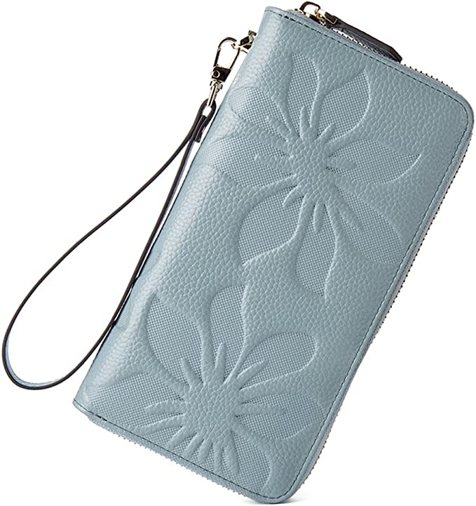 BOSTANTEN Womens Leather Wallets Credit Card Cash Holder Large Capacity Clutch Wristlet Light Blue best women's wristlets