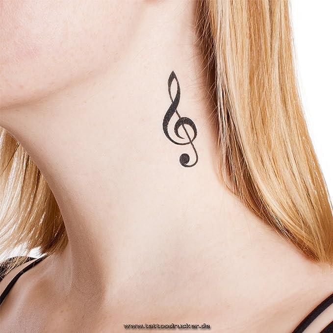 2 x Notas de violín - tatuaje temporal en negro - Music Tattoo (2 ...