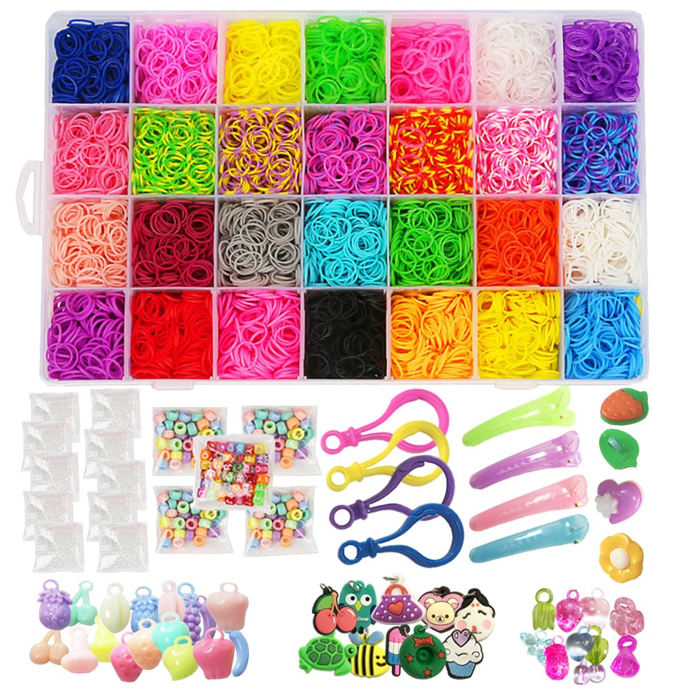 Loom Kit, Rubber Bands Refills Set for Kids Bracelet Loom Craft, 10000pcs in 28 Different Colors, 10 Packs S clips, 4 Packs Colorful Beads, 1 Pack Alphabet Beads, 4 Packs Loom Charms Rubber Bands Loom