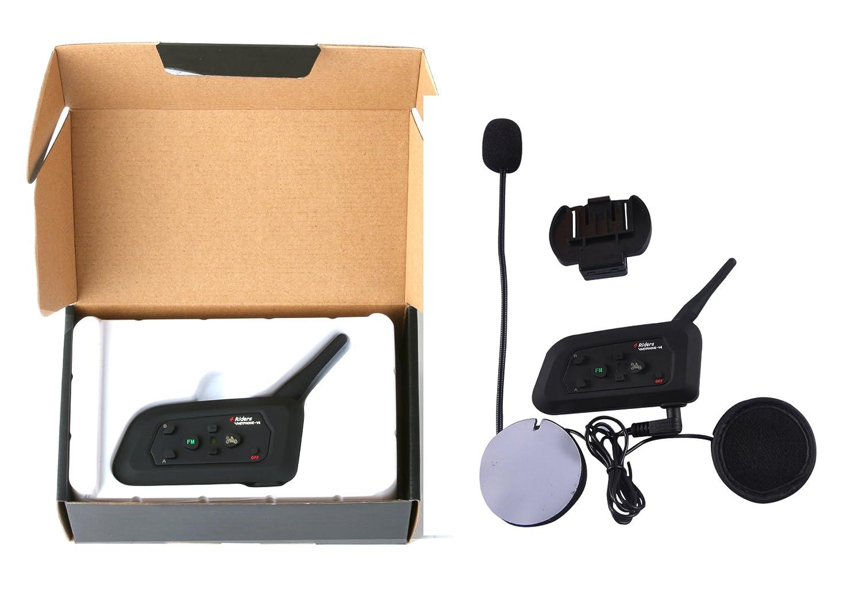 1 pack V4 Intercomunicador Bluetooth Motocicletas,Intercomunicador de Casco,Casco Auriculares para Montar a Caballo//Esqu/í//Moto de Nieve//Scooter//MTB,4/Corredor Intercom simultan/és//FM Radio//Rango 1200m