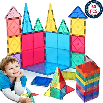 Great for 3+ Years Old Toddlers and Kids 3D Building Educational Toys for Boys and Girls Tiles with Innovative Build Magnets 128 pcs Large Set /& Storage Box Great Gift! Magnetic Blocks