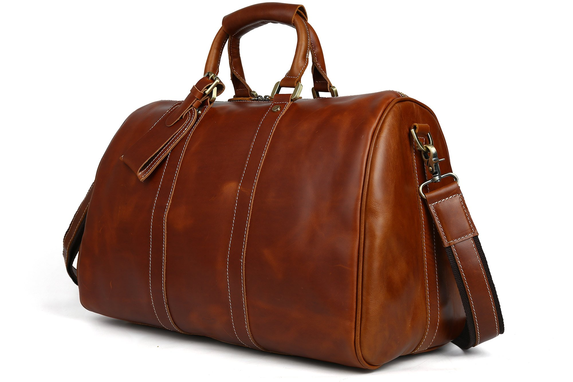SUNVP Mens Genuine Leather Duffel Bag Vintage Overnight Travel Carry On Shoulder Crossbody Bags
