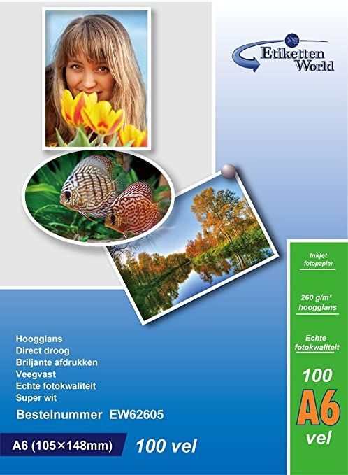 Amazon.com: 100 hojas de papel fotográfico (A6, 260 g/m ...