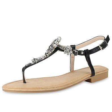 SCARPE VITA Damen Sandalen Zehentrenner Ketten Strass Sommer Schuhe Flats 156777 Silber 37 6lwEGiCbr