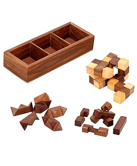 Amazon Com Stonkraft 3 In One Wooden Puzzle Games Set 3d Puzzles