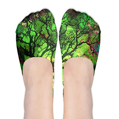 Abstract Tree With Multicolor DIY Printed Pattern Comfortable Low Cut Socks No-show Liner Invisible Polyester Cotton Sock For Women (One Pair)
