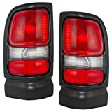 Taillights Tail Lamps with Smoked Back-Up Lenses & Black Trim Driver and Passenger Replacement for Dodge Pickup Truck 55055265AC 55055264AC