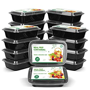 [20 Pack] Meal Prep Containers Set, Reusable Travel & to-Go Food Storage Container Boxes, Microwavable, Fridge & Dishwasher Safe, BPA-Free (1 Compartment, 1250mL)