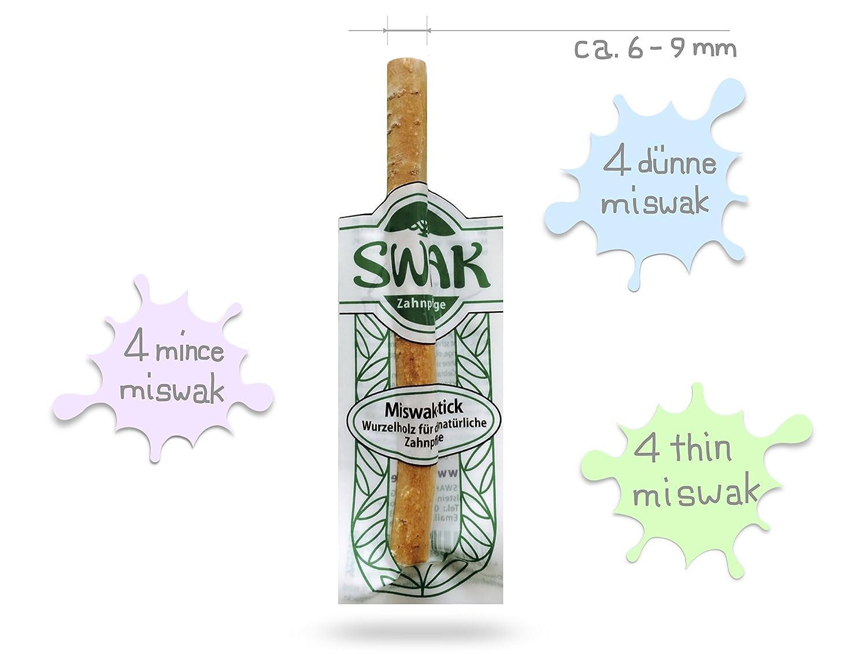 Cepillo de dientes 100 % natural Miswak Siwak, con minerales naturales y partículas de yeso para unos dientes limpios y blancos, vegano, ...