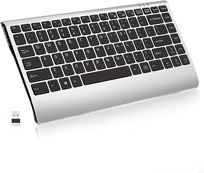 Teclado inalámbrico, Soundance 2,4 GHz, delgado, compacto, silencioso, inalámbrico, recargable, de perfil bajo, para portátil, PC, escritorio, ...