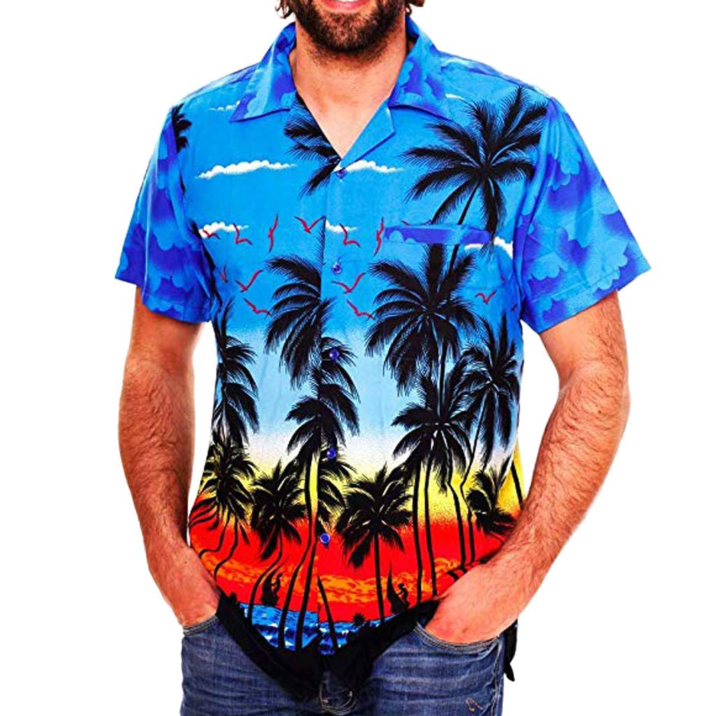 Forthery Mens Hawaii Casual Patchwork Button Down Short Sleeve Round Collar T Shirt Slim Fit Top Blouse(Blue,US Size XL = Tag 2XL)
