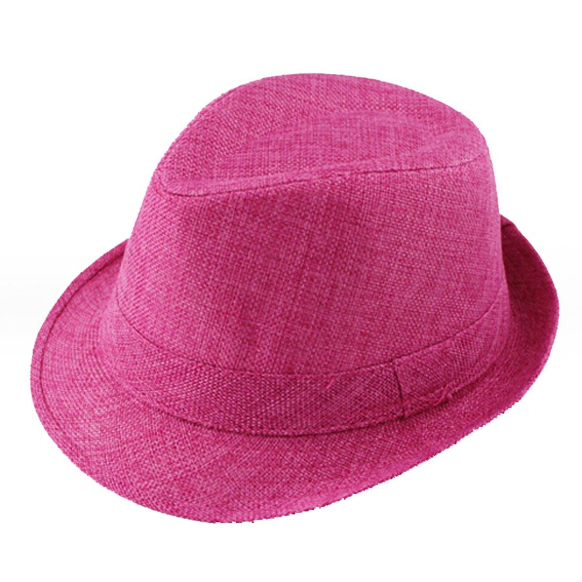 Baby Linen Fedora Hat Infant Toddler Jazz Cap Kids Straw Sun Cowboy Hat Pink TM