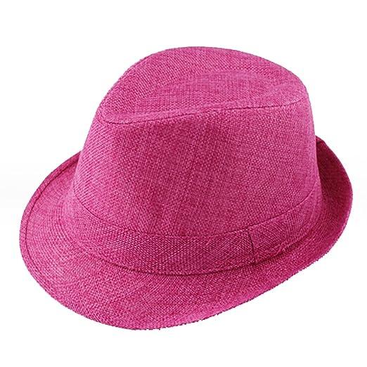 3191d60fc Amazon.com: Baby Linen Fedora Hat Infant Toddler Jazz Cap Kids Straw ...