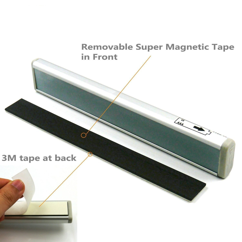 CFIKTE 10 LED human body sensor light intelligent light control cabinet light long aluminum light night light (warm white) (1 Pack)