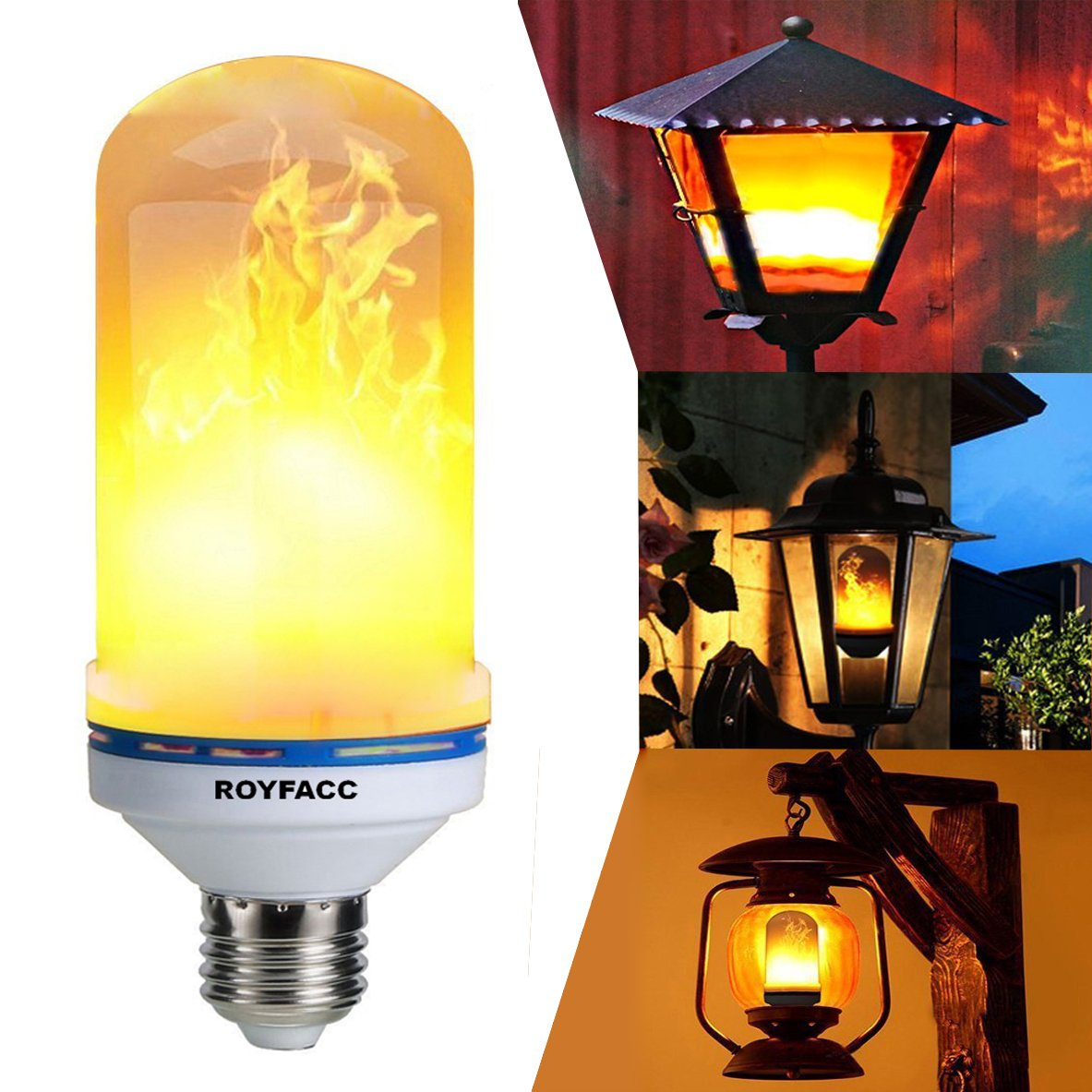 ROYFACC LED Light Bulb, E26 Base Flame Effect Light Bulbs, Flickering Vintage Torch Light Mood Lamp for Table Lamp with 3 Modes Home Garden Party Pathway Decor