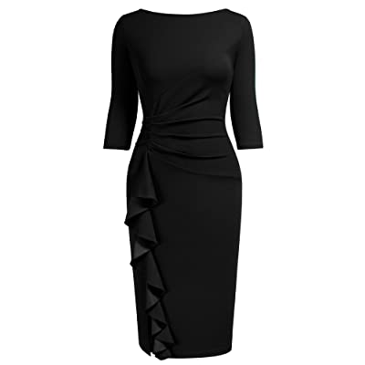 AISIZE Women Retro 3/4 Sleeve Ruched Elegant Business Pencil Sheath Dress at Women's Clothing store