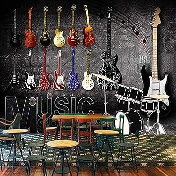 Póster papel pintado retro música rock guitarra papel pintado ...
