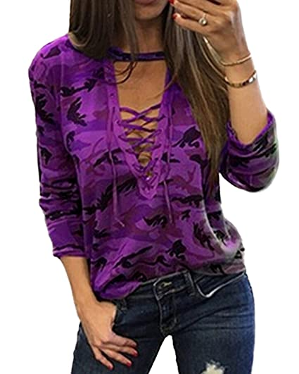 924709d370 YOINS Women Camouflage Pattern Deep V Neck Casual Loose Long Tops T-Shirt  Lace-