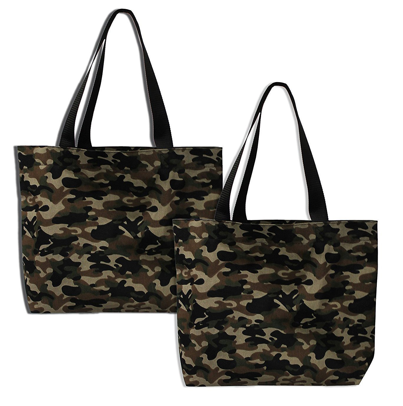 Earthwise Camouflage Camo Bag Tote Fashion Shopping Everyday Reusable Grocery Bag PROUDLY MADE IN THE USA (Set of 2)