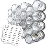 Gneiss Spice Small Empty Magnetic Spice Jars | Create a DIY Hanging Spice Rack on Your Fridge | Includes Hexagon Glass Jars, Magnetic Lids + Spice Labels (24 Small Jars, Silver Lids)