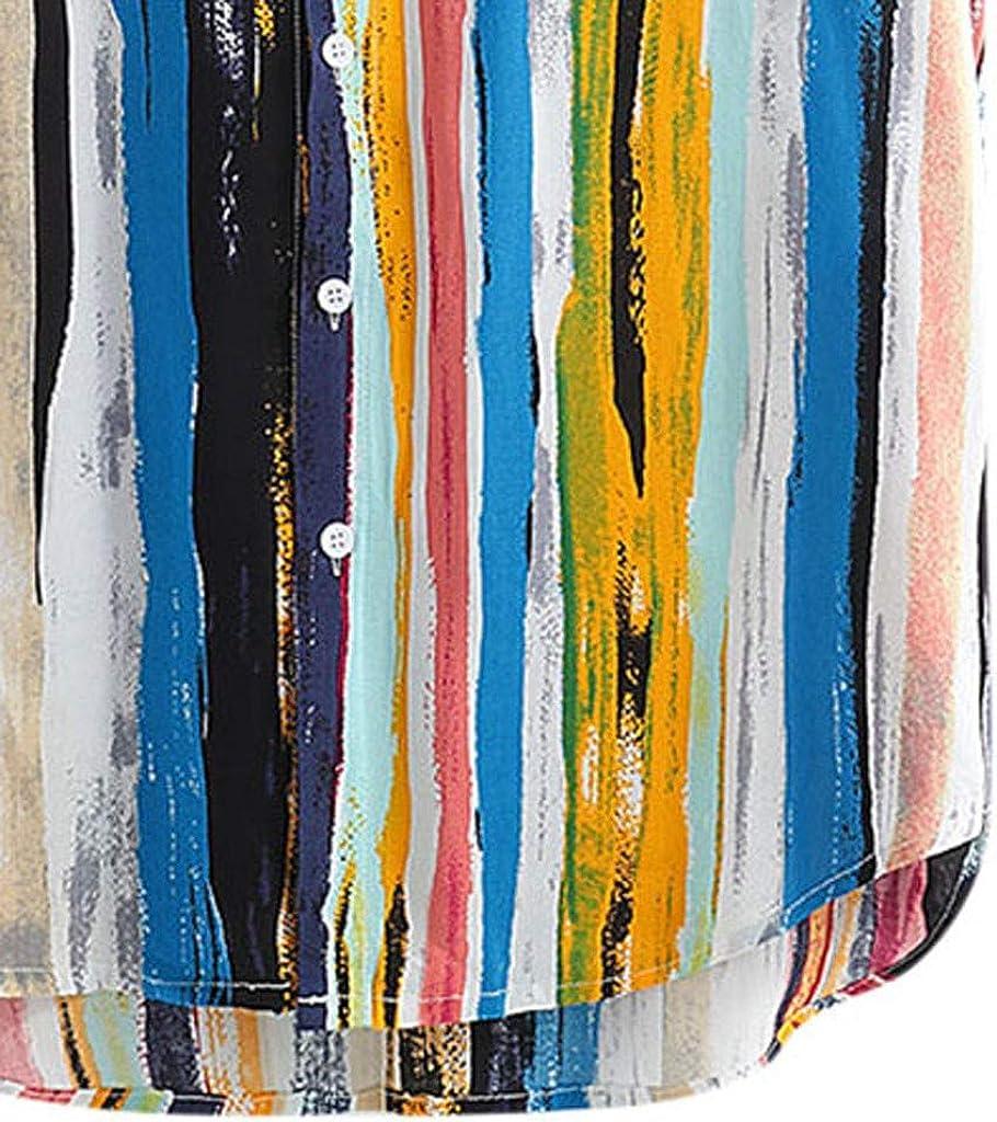 Algod/ón y Lino Manga Corta Vintage Bolsillo en el Pecho Dobladillo Redondo Suelto Camiseta DOGZI Camisas para Hombre