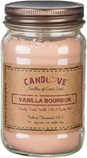 "product image for Candlove ""Vanilla Bourbon"" Scented 16oz Mason Jar Candle 100% Soy Made in The USA"