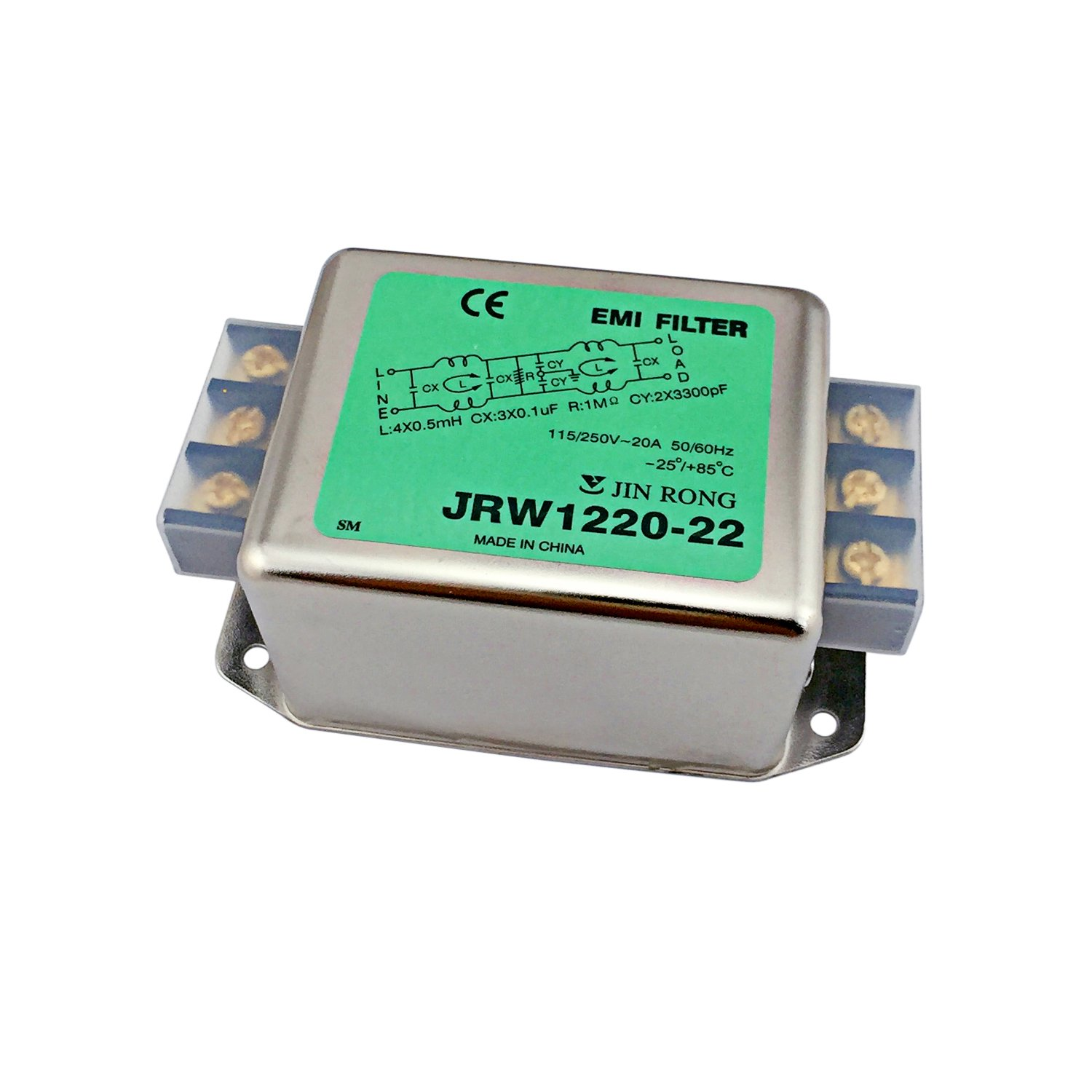 Noise Suppressor Power EMI Filter Termianl Single-Phase Line-Conditioner JREle AC 115/250V 20A JRW1220-22 by JREle