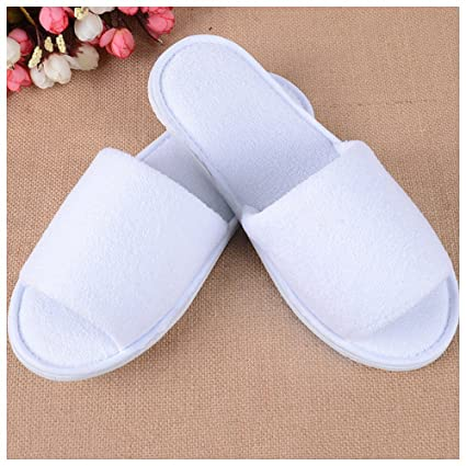 ff9e1c05280 Brand New 10 Pairs White Towelling Hotel Slippers Open Toe Disposable Party  Guest Shoes  Amazon.co.uk  DIY   Tools