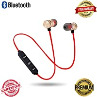 VOSAVO Wireless Bluetooth Sports Magnetic Handfree Compatible with All Android and iOS Devices (Red)
