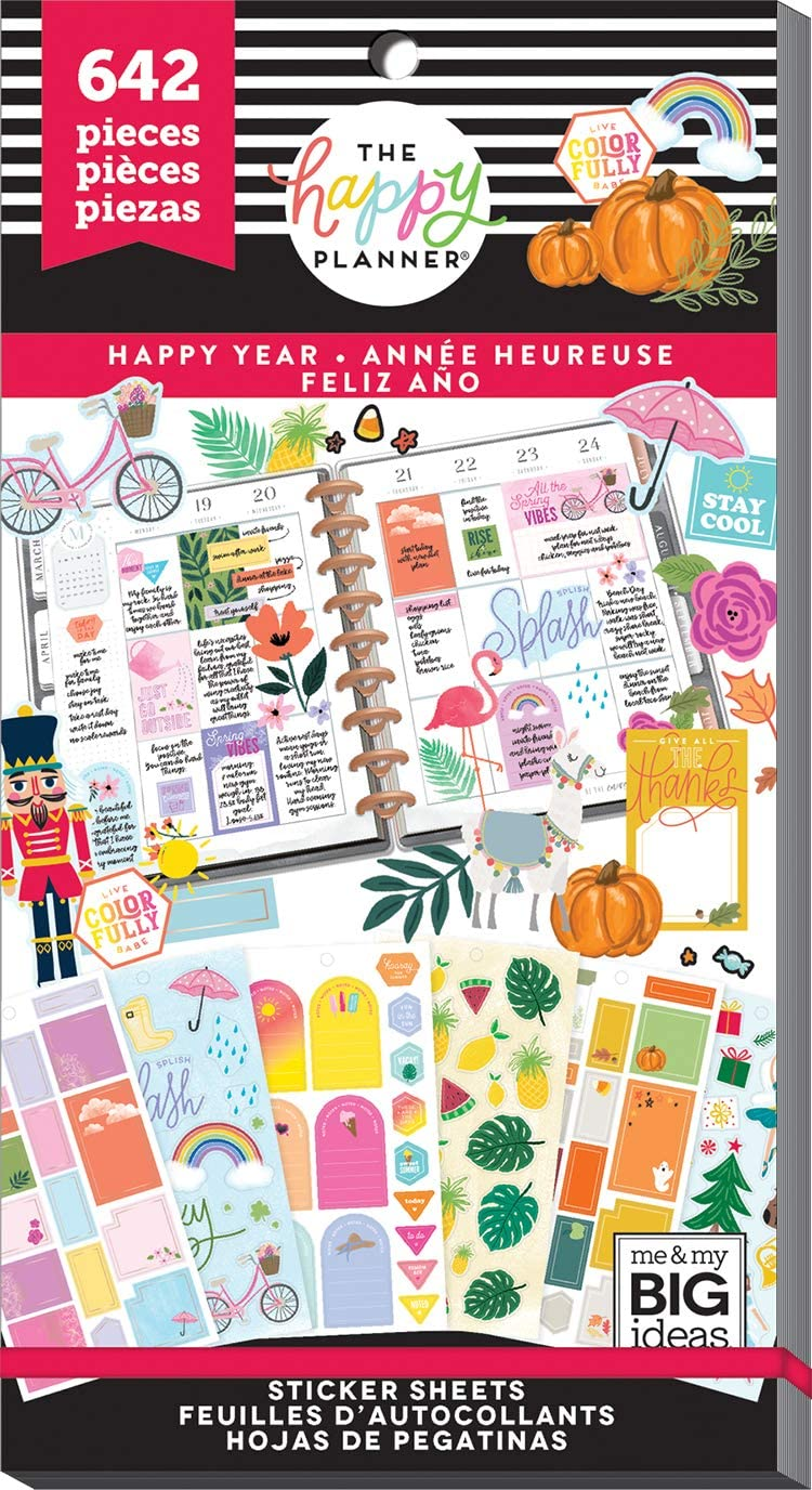 me & my BIG ideas Sticker Value Pack - The Happy Planner Scrapbooking Supplies - Happy Year Theme - Multi-Color - Great for Projects, Scrapbooks & Albums - 30 Sheets, 642 Stickers Total