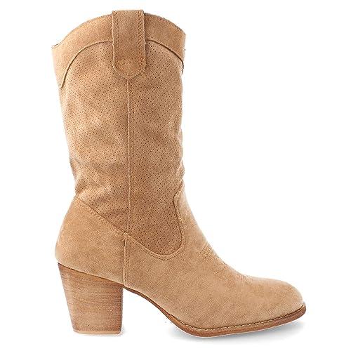 5d3532c73e9 Botas Camperas de Mujer con calados Primavera Verano 2019 Talla 39 Camel   Amazon.es  Zapatos y complementos