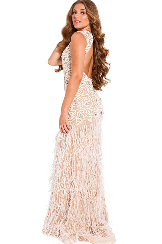 Jovani Prom 2018 Dress Evening Gown Authentic 36752 Long White/Nude at Amazon Womens Clothing store: