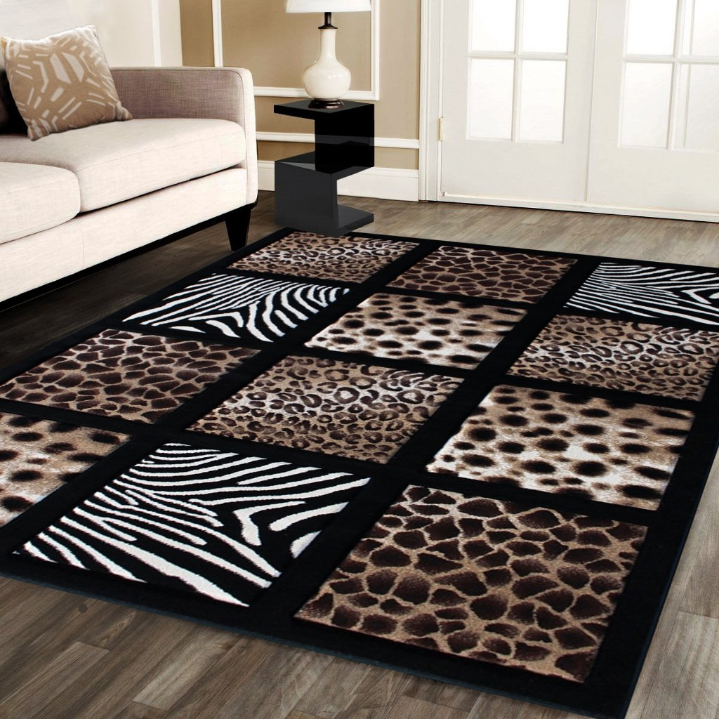 Modern Area Rug Animal Prints 5 Ft. 2 In. X 7 Ft. 3 In. Design # S 251 Black by Sculpture