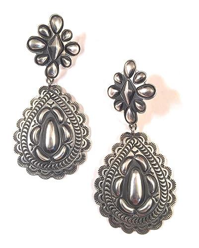 Amazon Navajo Sterling Silver Concho Dangle Earrings