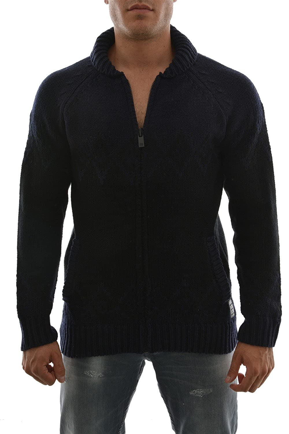 Scotch & Soda - Knitted Zip Thru Cardigan, Dark Blue