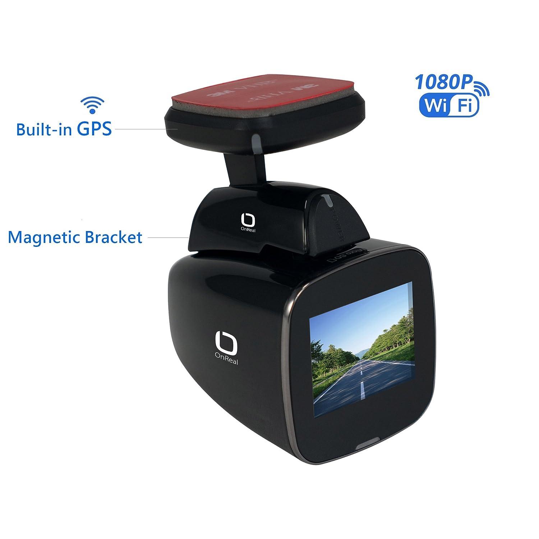 OnReal Voitures Camé ra Dash 1080P Built-in WiFi GPS avec 1.5' é cran 150 degré s Angle Lentille et Support magné tique Supporte G-Sensor Loop Record Dé tection de Mouvement Parking Moniteur NX-A3GPS