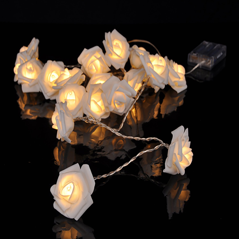 LED-Lichterkette mit 10 Rosenbüten Weiß Rosen
