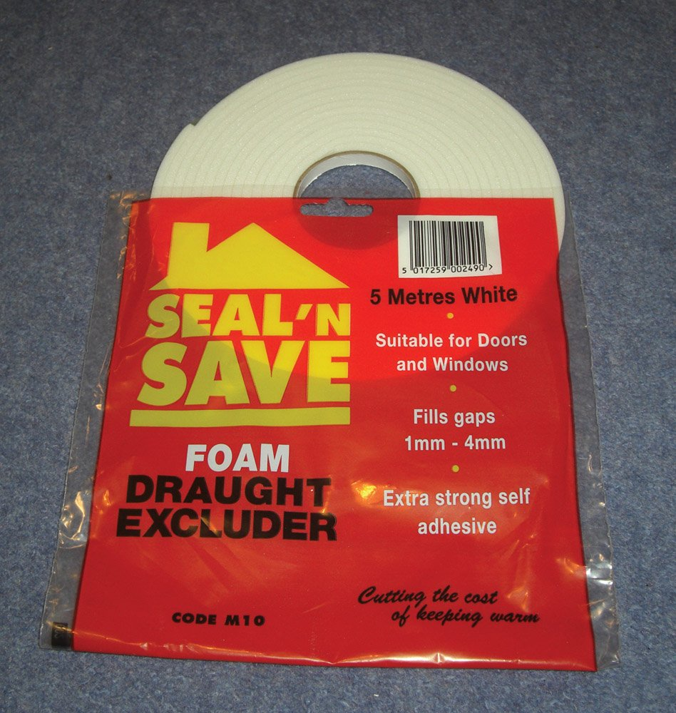 5 metre roll of self adhesive foam draught excluder - White Stormguard