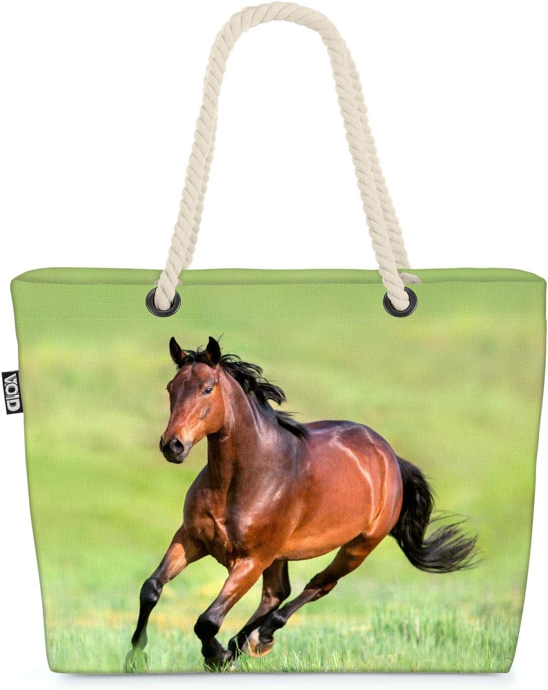 VOID Caballo marrón Bolsa de Playa 58x38x16cm 23L Shopper Bolsa de Viaje Compras Beach Bag Bolso