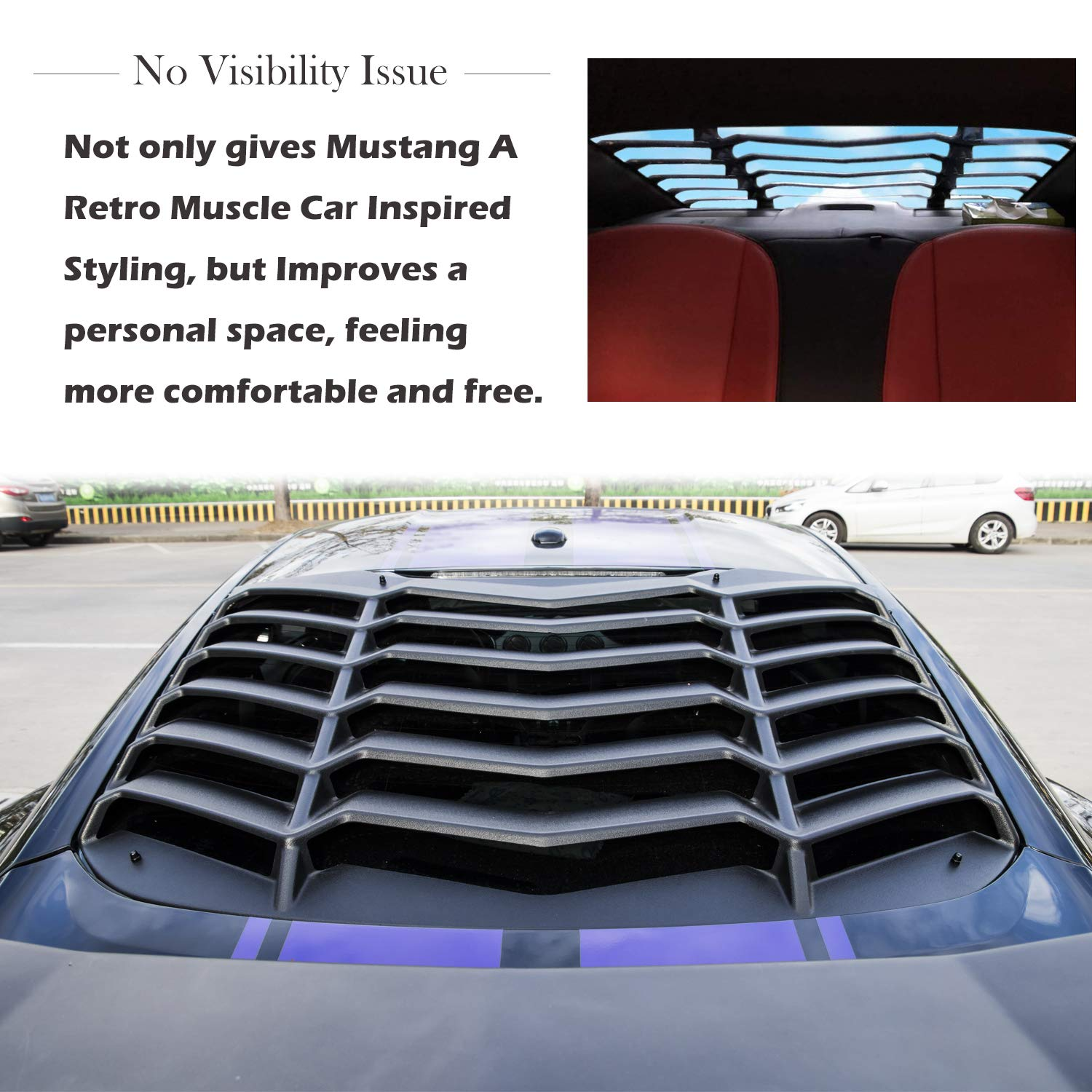 Yoursme Rear Window Louvers Window Scoop Windshield Cover Matte Black ABS for 2015 2016 2017 2018 2019 2020 Ford Mustang GT