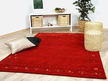 Theko natur teppich indo gabbeh indira rot in größen amazon