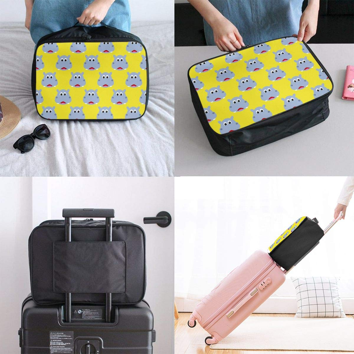 YueLJB Cute Hippo Face Lightweight Large Capacity Portable Luggage Bag Travel Duffel Bag Storage Carry Luggage Duffle Tote Bag